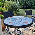 Table bistro thème années 50 mosaique