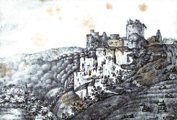 Lithographie du château de Mervent issue de la revue Anglo-française, vol
