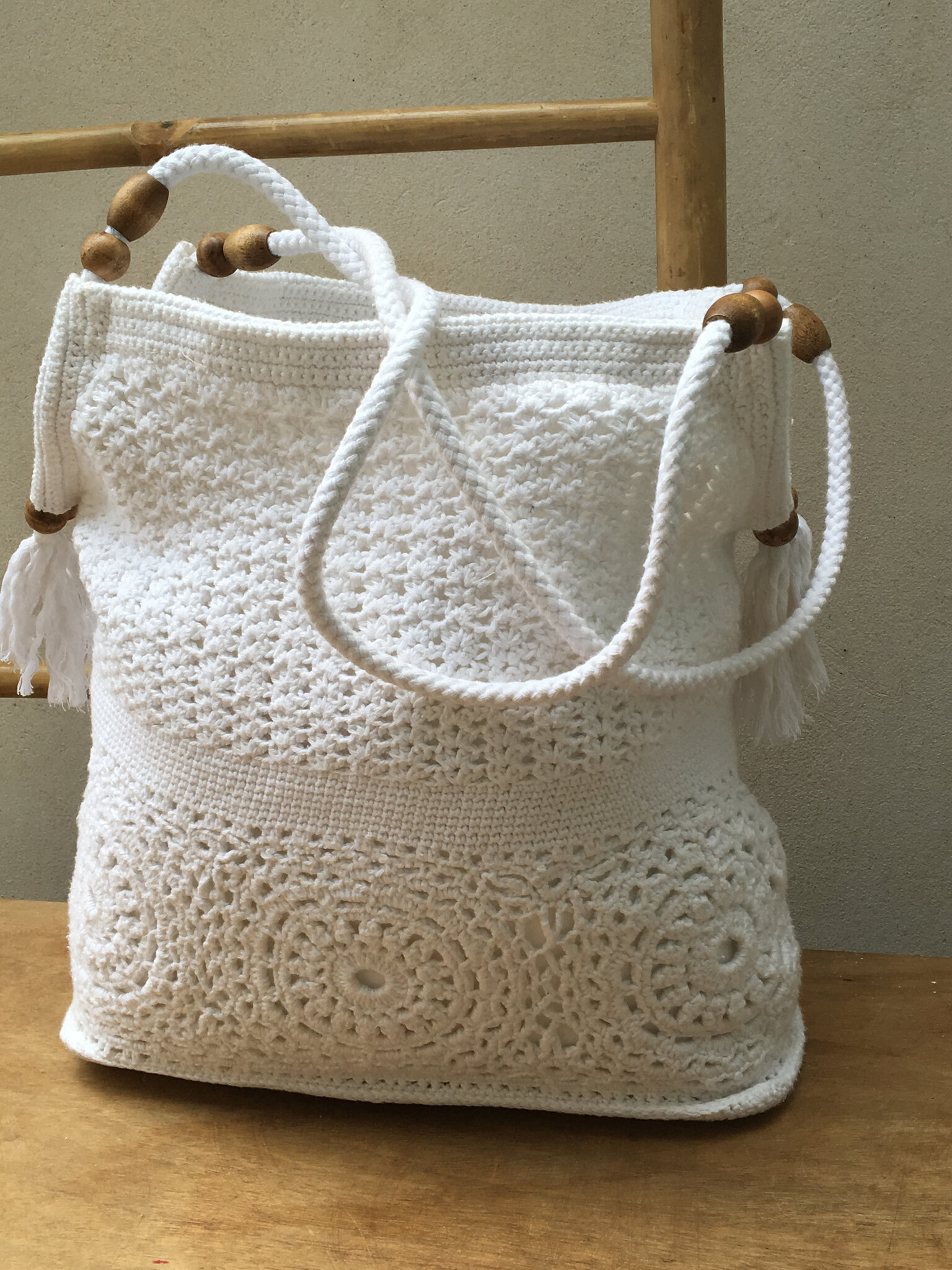 sac blanc en crochet