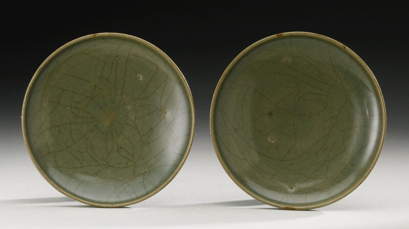 A pair of green 'Jun' dishes, Song Dynasty (960-1279)