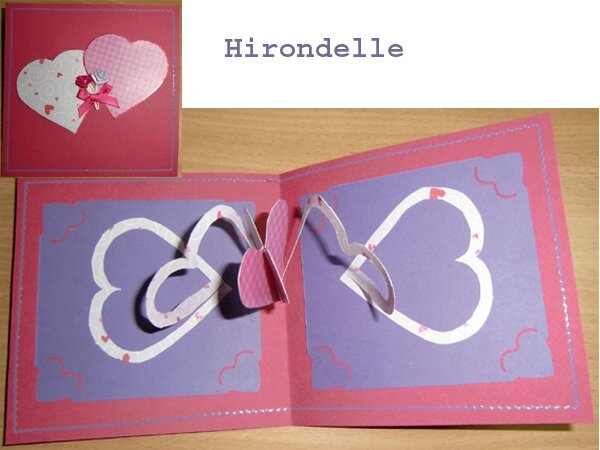coeurs pop-up enlaces Hirondelle