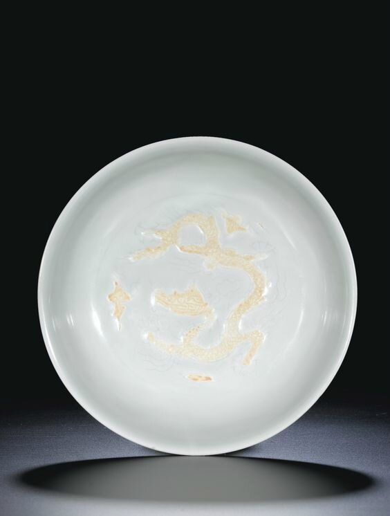 biscuit-decorated 'Dragon' dish, mark and period of Zhengde (1506-1521)