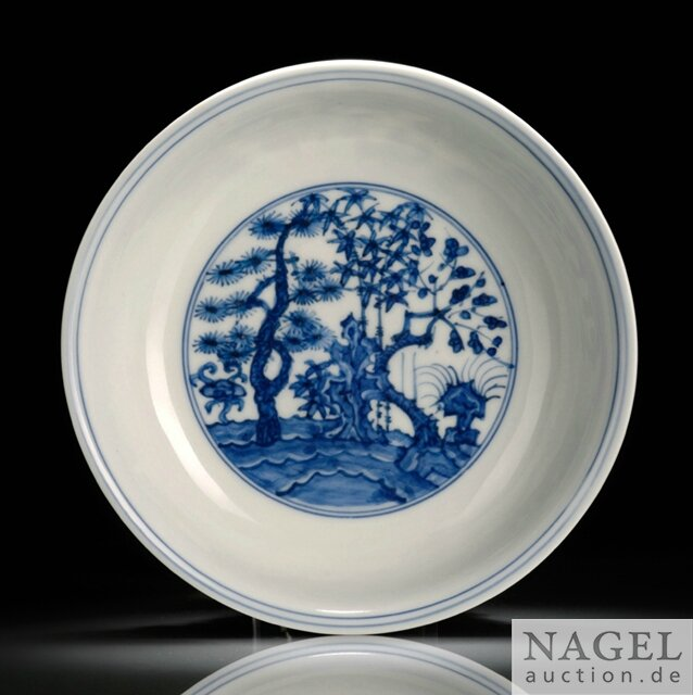 A very rare blue and white 'three friends of winter' dish, China, Jiajing six-character mark and period (1522-1566)
