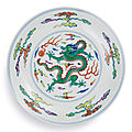 A fine and rare doucai 'dragon' dish, mark and period of yongzheng (1723-1735)