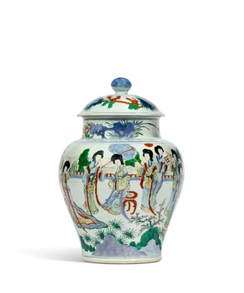 A wucai 'ladies' jar and cover, China, Transitional period, circa 17th century