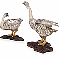 Sano takachika, a set of two silver incense-burners in the form of geese, meiji era (1868–1912), circa 1890s