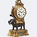 Pendule à l'éléphant en bronze patiné et doré, xviii° siècle