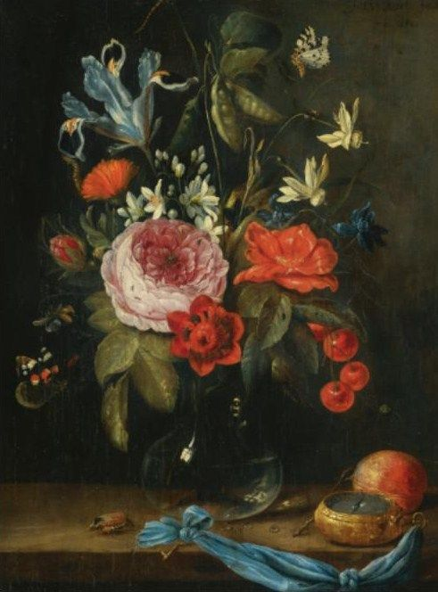 Jan Van Kessel Antwerp 1626 1679 Still Life With Flowers In A Glass Vase Together With A