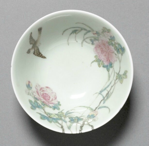 Bowl with Bamboo, Tree Peony, and Swallow, China, Jiangxi province, Jingdezhen , Qing dynasty, Yongzheng mark and reign