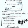 Concert découverte - opéra national de lorraine jeudi - 20 octobre 2016