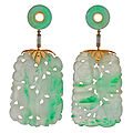 Art deco carved large apple jade & diamond earrings. china, ca. 1920