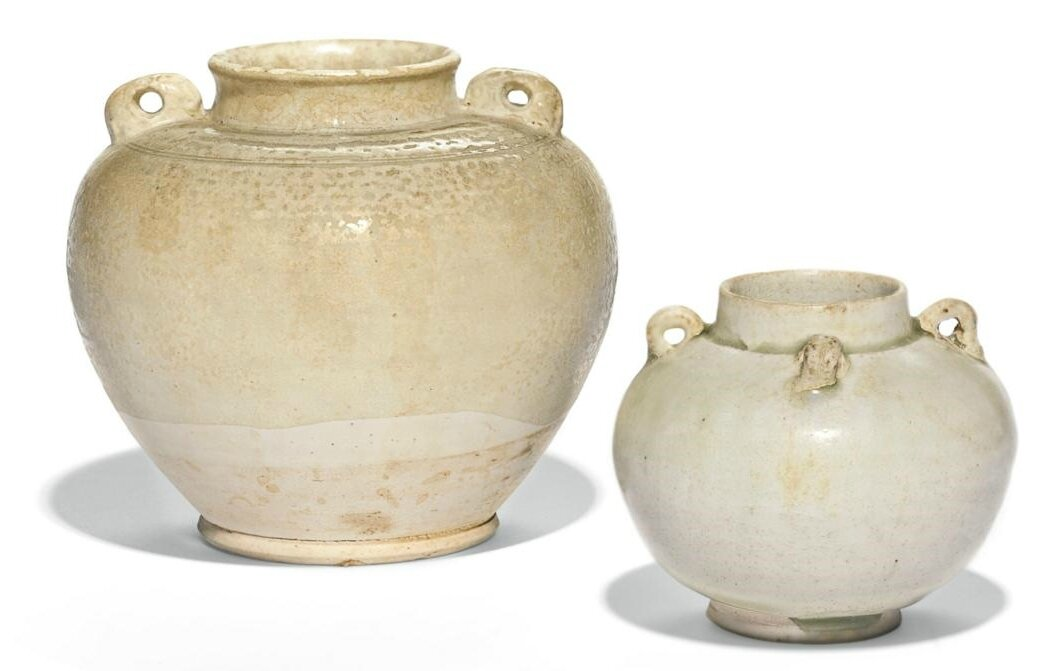 Two white-glazed jars, Tang dynasty (618-907)