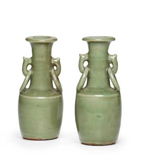 Two Longquan celadon mallet vases, Yuan-Ming dynasty