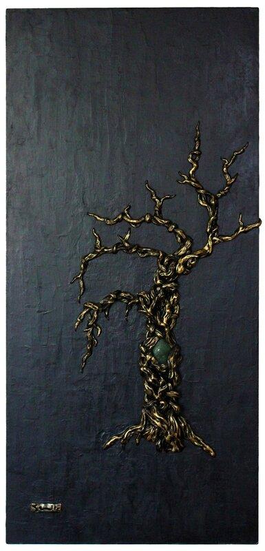 """""""L'axe du monde"""". bas-relief sur bois avec incrustation de jade, 42cm x 90cm"""