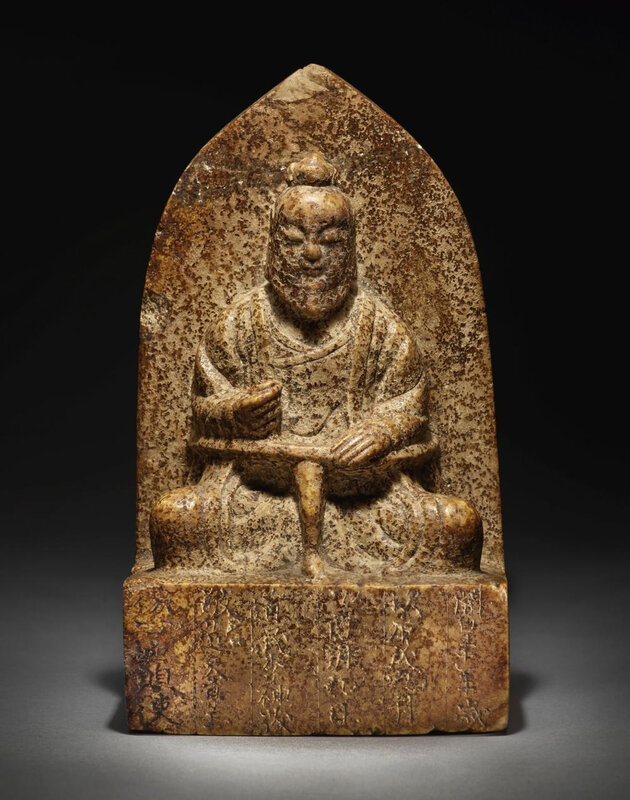 An inscribed huanghuashi stele of a Daoist figure, Sui dynasty,dated 10th year of the kaihuang period, corresponding to 590