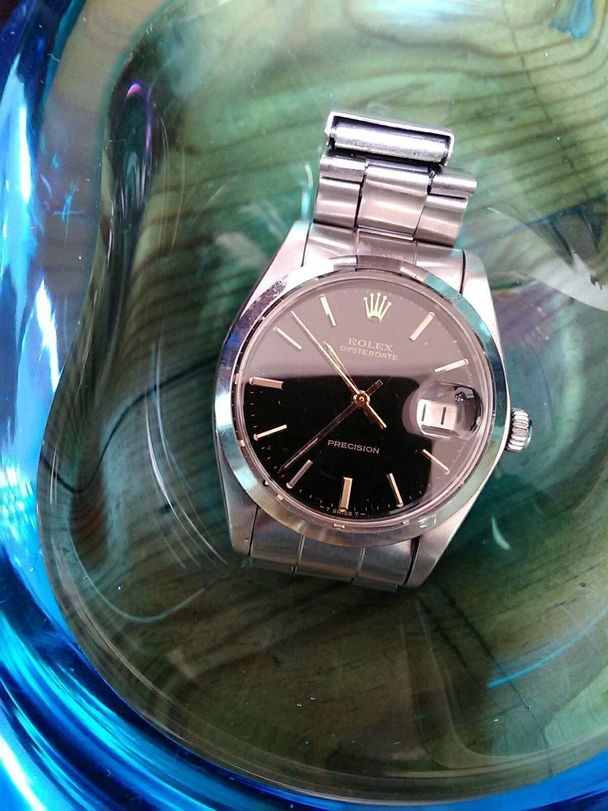 rolex oysterdate 6694 black dial gilt 1