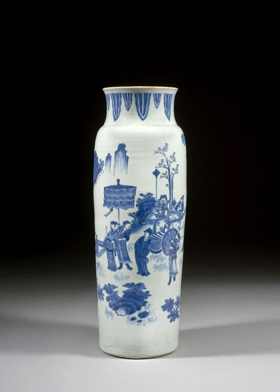 A blue and white porcelain vase, China, Transitional period, 17th century