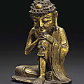 A gilt-bronze seated figure of the ascetic shakyamuni, late ming dynasty, 16th-17th century