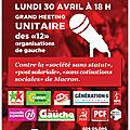 Meeting unitaire de gauche, rendez vous le 30 avril a 18h place de la republique