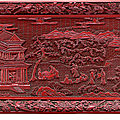 An unusual carved red lacquer rectangular tray, late ming dynasty, 16th-17th century