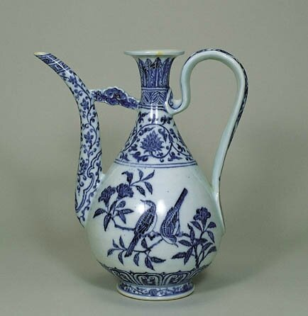 Blue-and-White Ewer with birds on a Branch Design, Ming Dynasty, Yongle Period (1403-1424), h.33.7cm. Gift of SUMITOMO Group, the ATAKA Collection. Acc. No. 10893. The Museum of Oriental Ceramics, Osaka. © 2009 The Museum of Oriental Ceramics,Osaka.