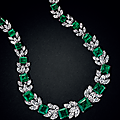 Exquisite emerald and diamond necklace, emerald and diamond pendants & emerald and diamond ring, harry winston