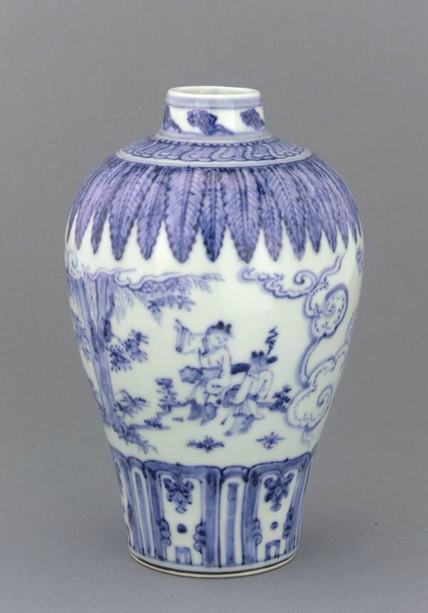 Vase meiping, mid 15th century, Ming dynasty. Porcelain with cobalt pigment under clear colorless glaze. H: 22.8 W: 14.4 cm. Jingdezhen, China. Purchase F1953.3a-b. Freer/Sackler © 2014 Smithsonian Institution