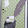 carte de voeux originale avec machine à écrire et plume
