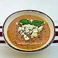 Crème froide d'aubergines au yaourt et au poivron rouge