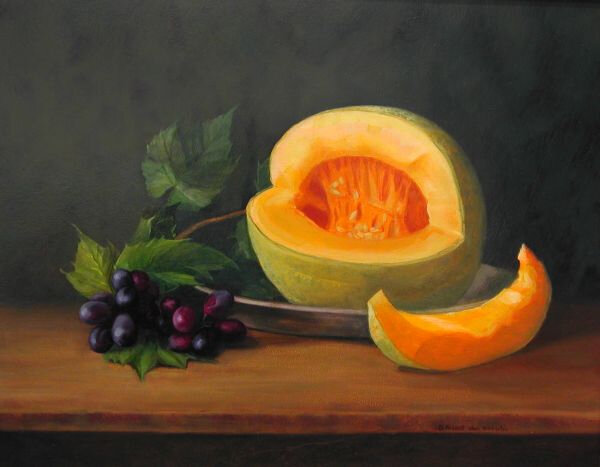 fresh fruits cantaloupe_grapes Bridget Bossart Van Otterloo