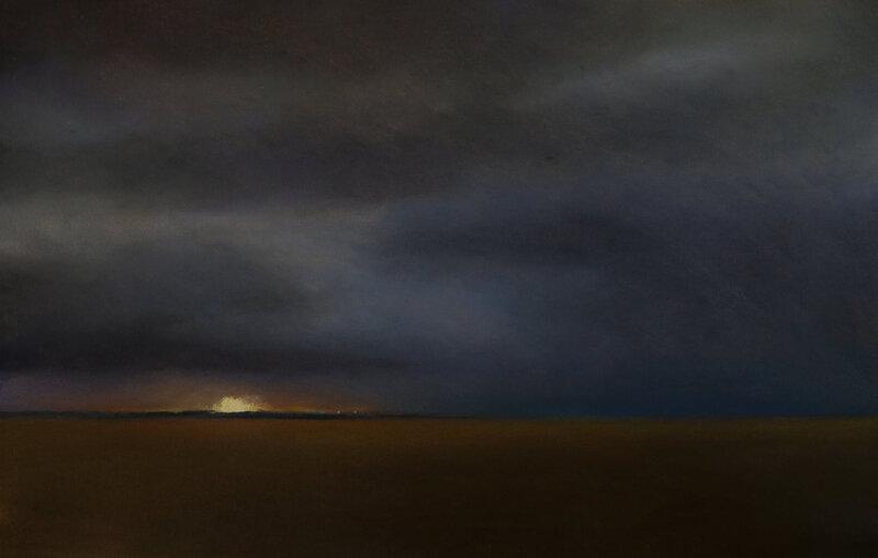 Horizon Elévation #126 (Dernière lueur au dessus de l'île de Ré), pastel à l'huile, 48 x 32 cm, octobre 2020