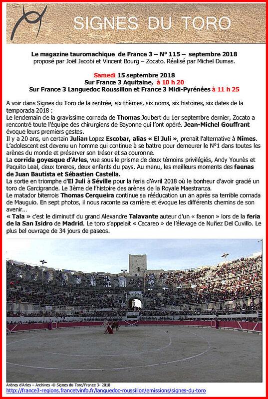 France3 - communiqué Signes du Toro n° 115