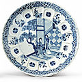A blue and white molded dish, qing dynasty, kangxi period (1662-1722)