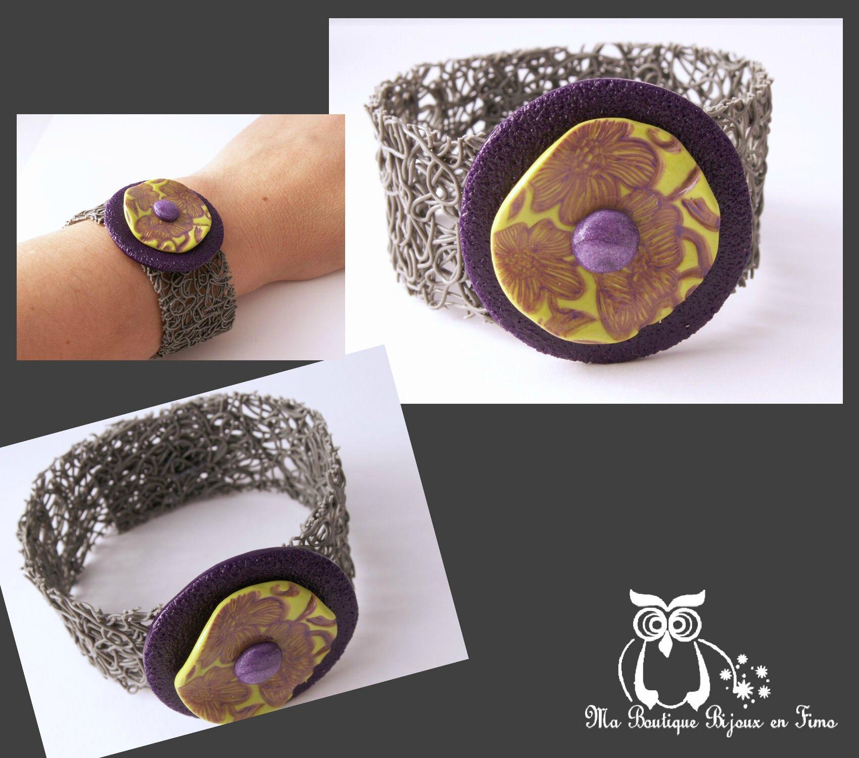 Bracelet corolle violet et tampon fleur