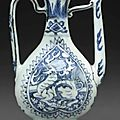 A small blue and white 'Qilin' ewer, Ming Dynasty, 16th century