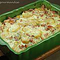 Gratin de pommes de terre, épinards et roquefort