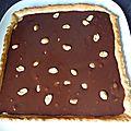 Tarte au chocolat- caramel et cacahuete
