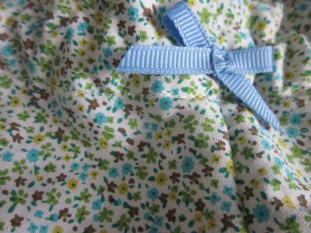 Culotte BIANCA en coton parsemé d'un semis de fleurs vert et turquoise - noeud ciel (1)