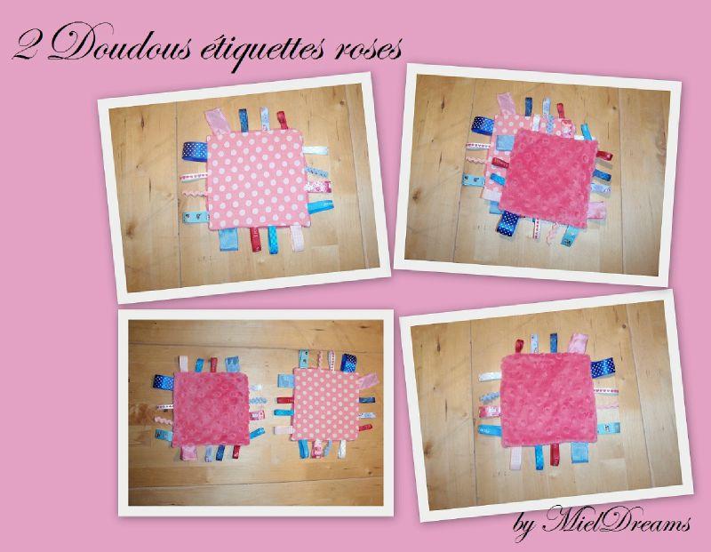 Doudous etiquettes roses