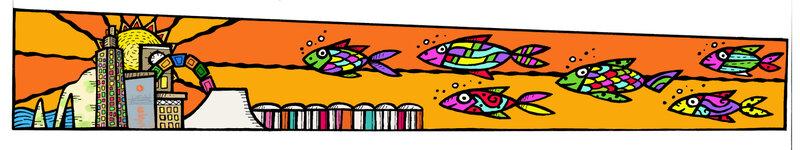 Fresque Terminal soleil poissons