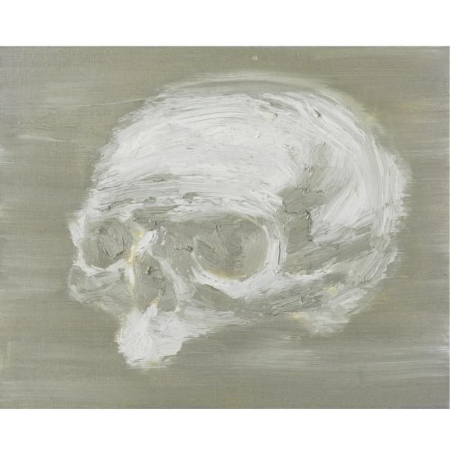 Yan Pei-Ming, Silver Skull, signed, titled and dated 18.05.2005 on the reverse, oil on canvas, 15 3/4 by 19 3/4 in. 40 by 50 cm.