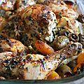 Poulet aux olives et abricots au four