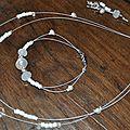 Parure mariage collier bracelet boucles d'oreilles