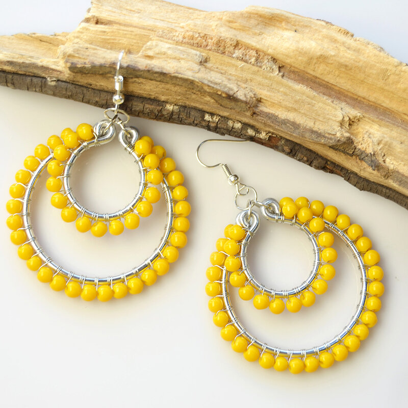 PandaHall-DIY-Design-on-Orange-Glass-Beads-Wire-Wrapped-Hoop-Earrings-3
