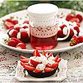 Tartelettes fraises, tartelettes framboises, crème pâtissière et chantilly sur fond pâte chocolatée....