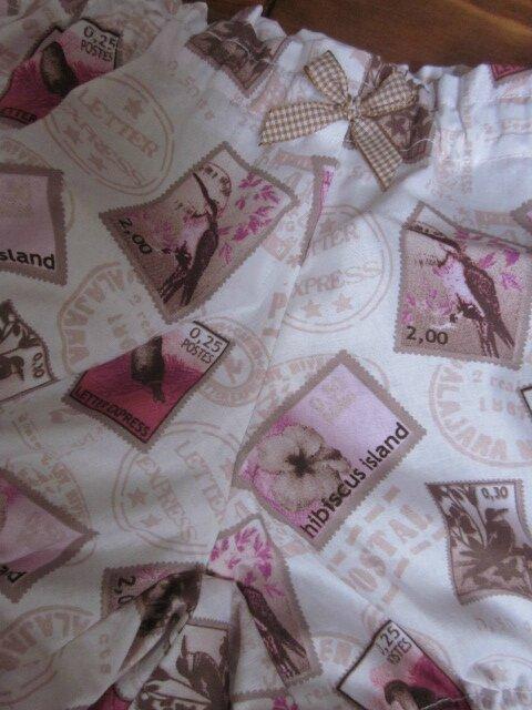 Culotte BIANCA en coton blanc imprimé timbre oiseau rose et beige - noeud de vichy beige (1)
