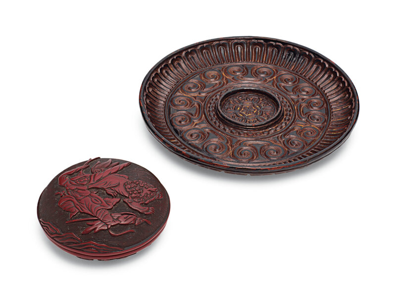 Atixilacquer circular cup stand and a small carved red lacquer box and cover, Yuan-Ming dynasty (1279-1644)