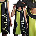 MOD 390A Robe Noire Anis bicolore créateur sixties made in France mode tendance Printemps 2016