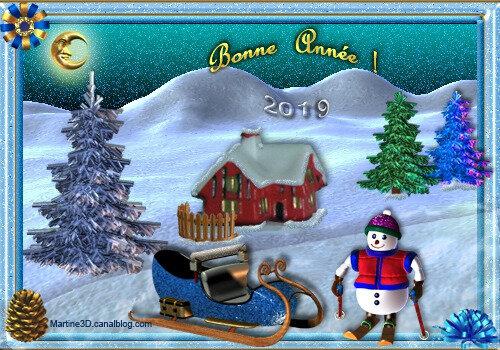 2019-carte-bonne-année-bonhomme-neige-ski-montagne-sapins-traineau