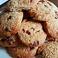 Cookies flocons d'avoine et cranberries